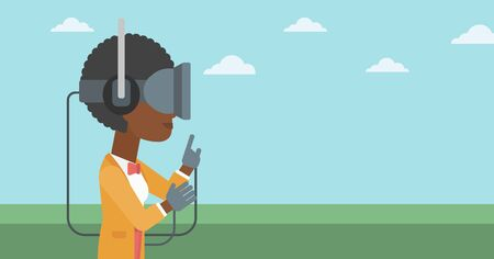 headset woman: An african-american woman wearing a virtual reality headset. Woman playing video games outdoor. Woman wearing gamer gloves. Vector flat design illustration. Horizontal layout.