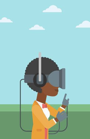 playing video games: An african-american woman wearing a virtual reality headset. Woman playing video games outdoor. Woman wearing gamer gloves. Vector flat design illustration. Vertical layout.