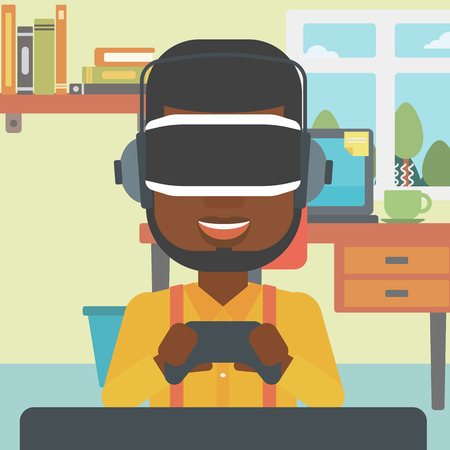 game controller: An african-american man wearing a virtual reality headset. Young man playing video game with game controller in hands. Vector flat design illustration. Square layout.