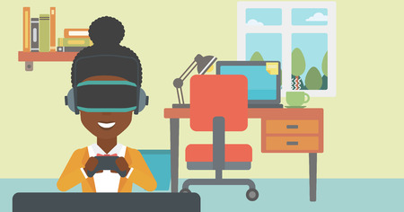 game controller: An african-american woman wearing a virtual reality headset. Smiling woman playing video games with a wireless game controller in hands. Vector flat design illustration. Horizontal layout.