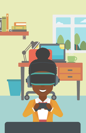 game controller: An african-american woman wearing a virtual reality headset. Smiling woman playing video games with a wireless game controller in hands. Vector flat design illustration. Vertical layout. Illustration