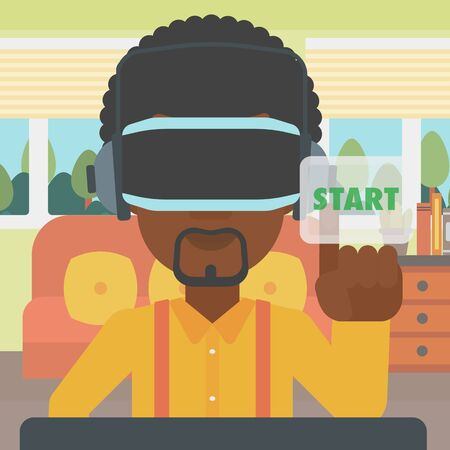 playing video game: An african-american man wearing virtual reality headset and playing video game. Man in virtual reality headset pushing virtual button start. Vector flat design illustration. Square layout. Illustration