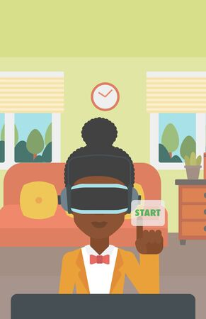 playing video game: An african-american woman wearing a virtual reality headset and playing video game. Woman in a virtual reality headset pushing virtual button start. Vector flat design illustration. Vertical layout. Illustration