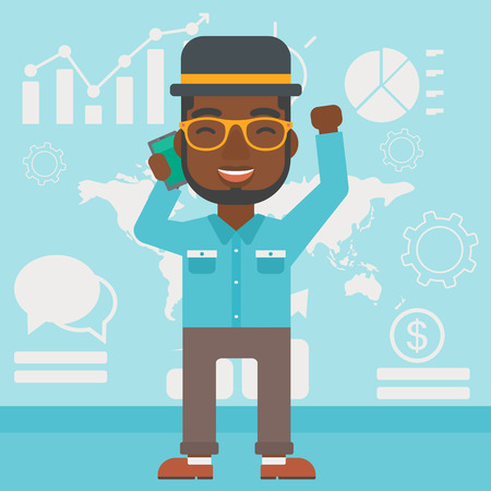 good news: An african-american businessman getting good news on mobile phone on the background of growth charts and map. Business success concept. Vector flat design illustration. Square layout.