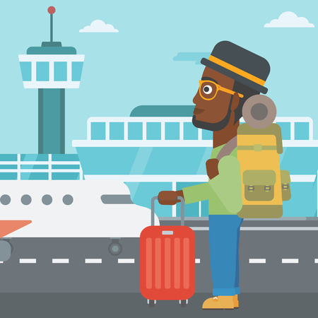 young man standing: An african-american man at the airport with backpack and a suitcase. Young man standing at the airport and looking at the flying airplane. Vector flat design illustration. Square layout.