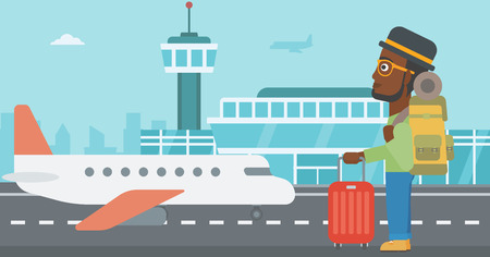 young man standing: An african-american man at the airport with backpack and a suitcase. Young man standing at the airport and looking at the flying airplane. Vector flat design illustration. Horizontal  layout.