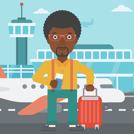 An african-american man with suitcase holding a passport with ticket at the airport. Vector flat design illustration. Square layout. Illustration