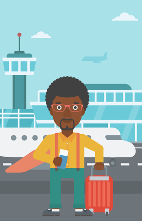 An african-american man with suitcase holding a passport with ticket at the airport. Vector flat design illustration. Vertical layout.