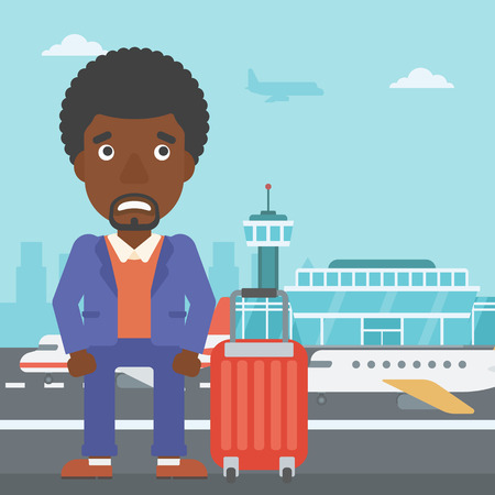 flying man: An african-american man frightened by future flight. Young man suffering from fear of flying. Phobia, fear of flying concept. Vector flat design illustration. Square layout.