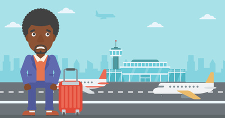 flying man: An african-american man frightened by future flight. Young man suffering from fear of flying. Phobia, fear of flying concept. Vector flat design illustration. Horizontal  layout. Illustration