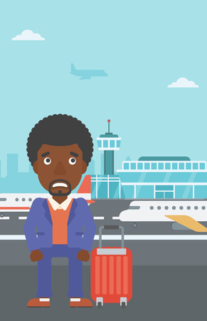 flying man: An african-american man frightened by future flight. Young man suffering from fear of flying. Phobia, fear of flying concept. Vector flat design illustration. Vertical layout.