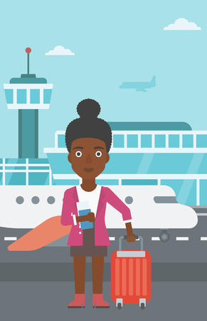 An african-american woman with suitcase holding a passport with ticket at the airport. Vector flat design illustration. Vertical layout. Illustration