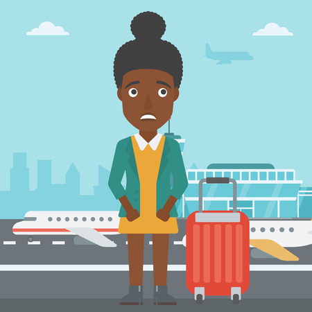 phobia: An african-american woman frightened by future flight. Woman standing at airport and suffering from fear of flying. Phobia, fear of flying concept. Vector flat design illustration. Square layout.