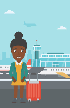 phobia: An african-american woman frightened by future flight. Woman standing at airport and suffering from fear of flying. Phobia, fear of flying concept. Vector flat design illustration. Vertical layout.