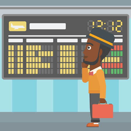 departure board: An african-american man with a briefcase looking at departure board at the airport. Passenger standing at the airport in front of departure board. Vector flat design illustration. Square layout. Illustration