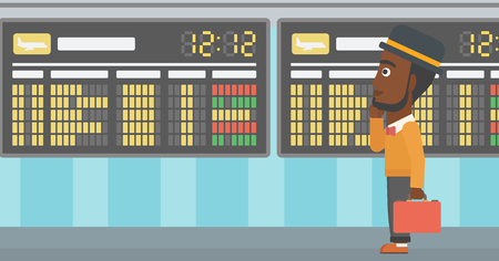 departure: An african-american man with a briefcase looking at departure board at the airport. Passenger standing at the airport in front of departure board. Vector flat design illustration. Horizontal  layout.