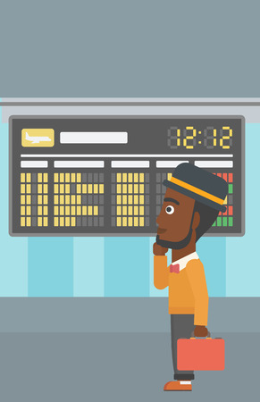 departure board: An african-american man with a briefcase looking at departure board at the airport. Passenger standing at the airport in front of departure board. Vector flat design illustration. Vertical layout.
