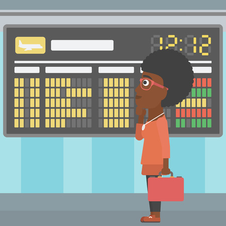 departure board: An african-american woman with briefcase looking at departure board at the airport. Passenger standing at the airport in front of departure board. Vector flat design illustration. Square layout. Illustration