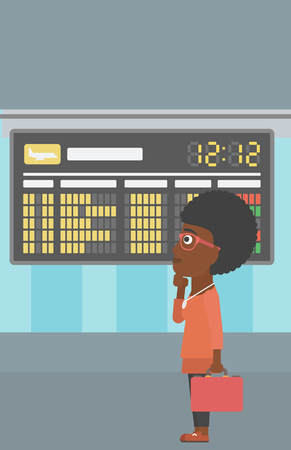 departure board: An african-american woman with briefcase looking at departure board at the airport. Passenger standing at the airport in front of departure board. Vector flat design illustration. Vertical layout.