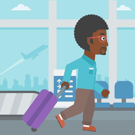 공항에서 걷고 가방을 가진 아프리카 계 미국인 젊은 남자. 벡터 평면 디자인 일러스트 레이 션. 사각형 레이아웃. 스톡 콘텐츠 - 59831778