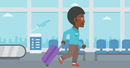 공항에서 걷고 가방을 가진 아프리카 계 미국인 젊은 남자. 벡터 평면 디자인 일러스트 레이 션. 가로 레이아웃입니다. 일러스트