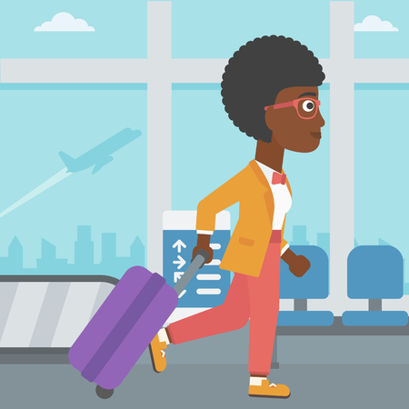An african-american young woman with a suitcase walking at the airport. Vector flat design illustration. Square layout. Ilustração