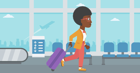 An african-american young woman with a suitcase walking at the airport. Vector flat design illustration. Horizontal  layout.