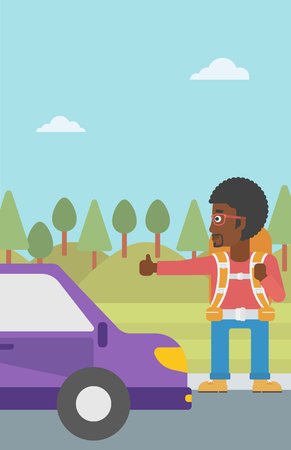 hitchhiking: An african-american young man with backpack hitchhiking on roadside. Hitchhiking man with the beard trying to stop a car on the road. Vector flat design illustration. Vertical layout.