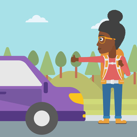 hitch hiker: An african-american young woman with backpack hitchhiking on roadside. Hitchhiking woman trying to stop a car on the road. Vector flat design illustration. Square layout. Illustration