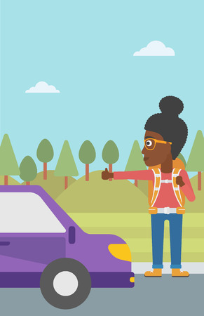 hitch hiker: An african-american young woman with backpack hitchhiking on roadside. Hitchhiking woman trying to stop a car on the road. Vector flat design illustration. Vertical layout.