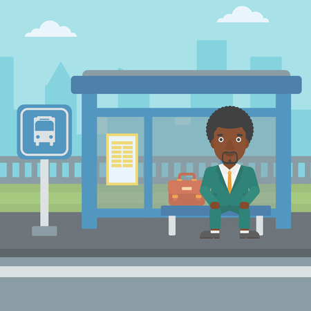 bus stop: An african-american young man waiting for a bus at a bus stop on a city background. Young man sitting at the bus stop. Vector flat design illustration. Square layout. Illustration