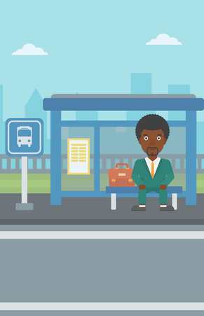 bus stop: An african-american young man waiting for a bus at a bus stop on a city background. Young man sitting at the bus stop. Vector flat design illustration. Vertical layout.