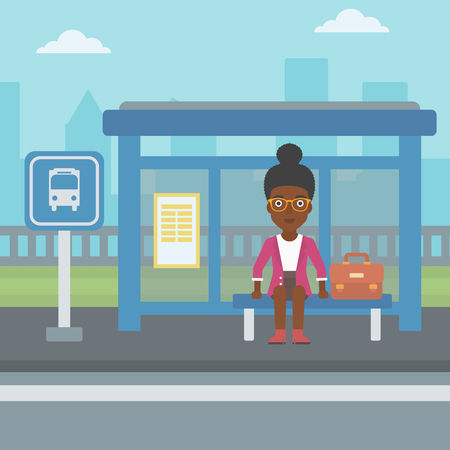 young woman sitting: An african-american woman with briefcase waiting for a bus at a bus stop on a city background. Young woman sitting at bus stop at the city street. Vector flat design illustration. Square layout.
