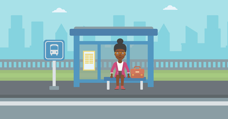 signboard: An african-american woman with briefcase waiting for a bus at a bus stop on a city background. Young woman sitting at bus stop at the city street. Vector flat design illustration. Horizontal  layout. Illustration