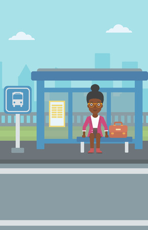 bus stop: An african-american woman with briefcase waiting for a bus at a bus stop on a city background. Young woman sitting at bus stop at the city street. Vector flat design illustration. Vertical layout. Illustration