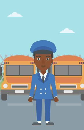 An african-american young school bus driver standing in front of yellow bus. Vector flat design illustration. Vertical layout. Illustration