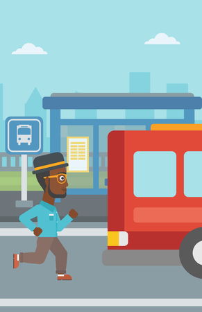 An african-american latecomer man running along the sidewalk to reach a bus. Hipster man with the beard came too late at bus stop. Man chasing a bus. Vector flat design illustration. Vertical layout.
