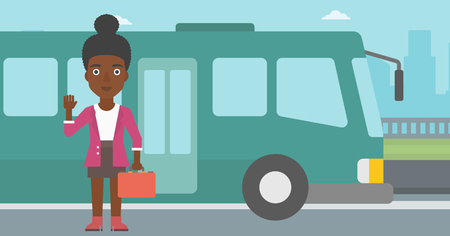 entrance door: An african-american young woman with suitcase standing at the entrance door of a bus on a city background. Young woman waving in front of a bus. Vector flat design illustration. Horizontal  layout.