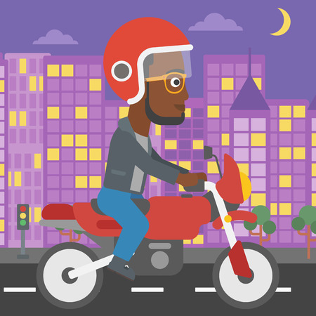 city man: An african-american young man in helmet riding a motorcycle on the background of night city. Man driving a motorbike on a city road. Vector flat design illustration. Square layout.
