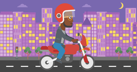 city man: An african-american young man in helmet riding a motorcycle on the background of night city. Man driving a motorbike on a city road. Vector flat design illustration. Horizontal  layout.