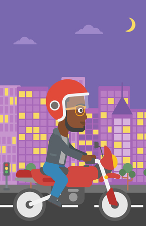 city man: An african-american young man in helmet riding a motorcycle on the background of night city. Man driving a motorbike on a city road. Vector flat design illustration. Vertical layout. Illustration