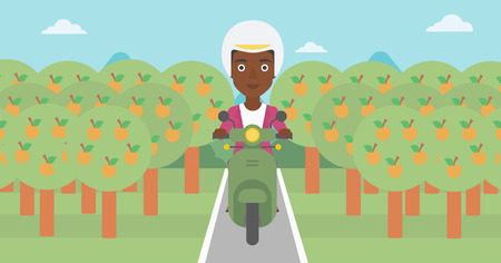 orchard: An african-american young woman riding a scooter on the asphalt road through the orchard. Young woman in helmet driving a scooter. Vector flat design illustration. Horizontal  layout.