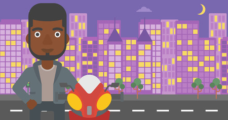 young man standing: An african-american young man standing near motorcycle on the background of night city. Vector flat design illustration. Horizontal  layout.