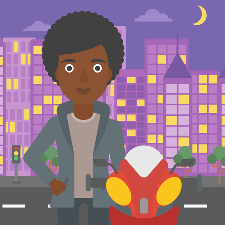 An african-american young woman standing near motorcycle on the background of night city. Vector flat design illustration. Square layout.