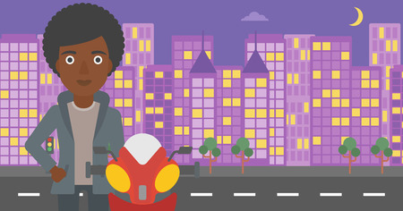 An african-american young woman standing near motorcycle on the background of night city. Vector flat design illustration. Horizontal  layout.