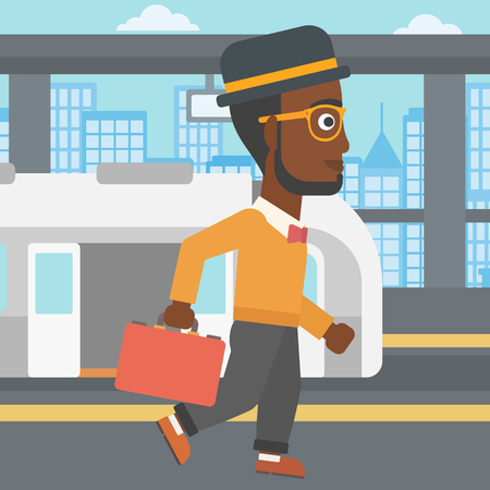 An african-american young man walking on the train platform on the background of train with open doors. Vector flat design illustration. Square layout.