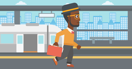 An african-american young man walking on the train platform on the background of train with open doors. Vector flat design illustration. Horizontal  layout.
