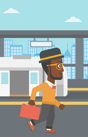 An african-american young man walking on the train platform on the background of train with open doors. Vector flat design illustration. Vertical layout. Illustration
