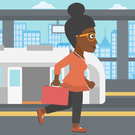 An african-american young woman walking on the train platform on the background of train with open doors. Vector flat design illustration. Square layout.