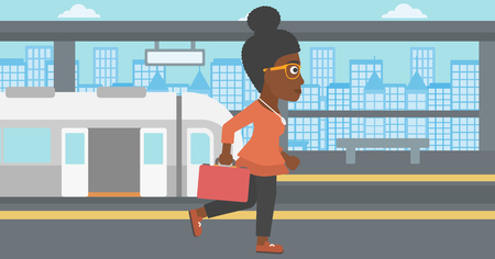 An african-american young woman walking on the train platform on the background of train with open doors. Vector flat design illustration. Horizontal  layout.
